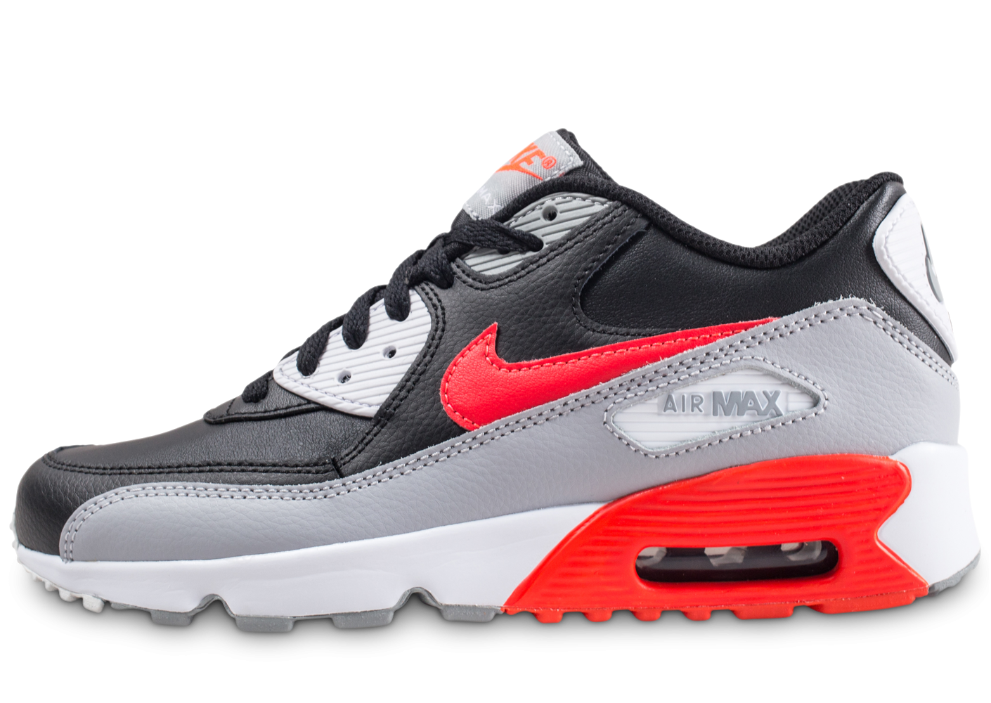 détaillant en ligne 5a620 908bf Nike Air Max 90 Leather noire et rouge junior