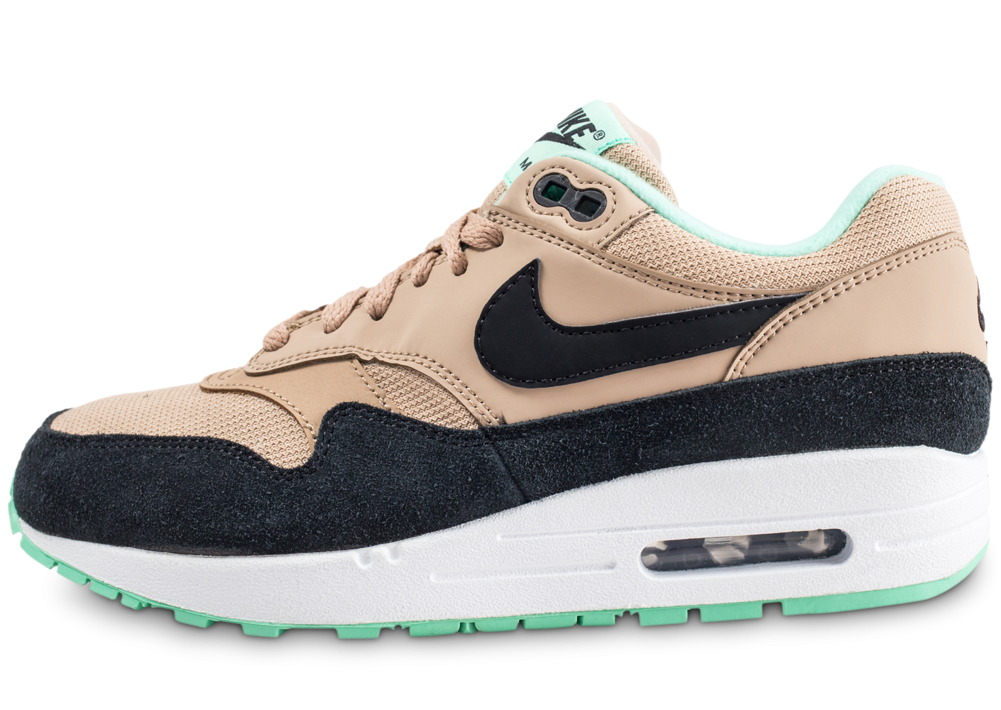 check-out 7ede6 99472 Nike Air Max 1 beige et vert femme
