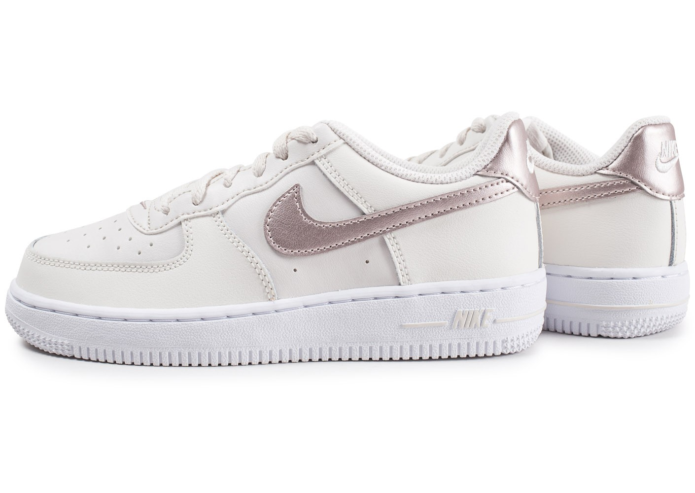 Nike Air Force 1 Low blanc or rose enfant - Chaussures ...