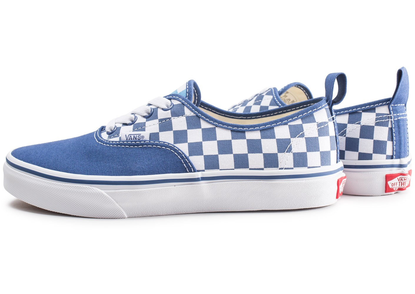 Vans Authentic blanche et bleue damier junior - Chaussures ...