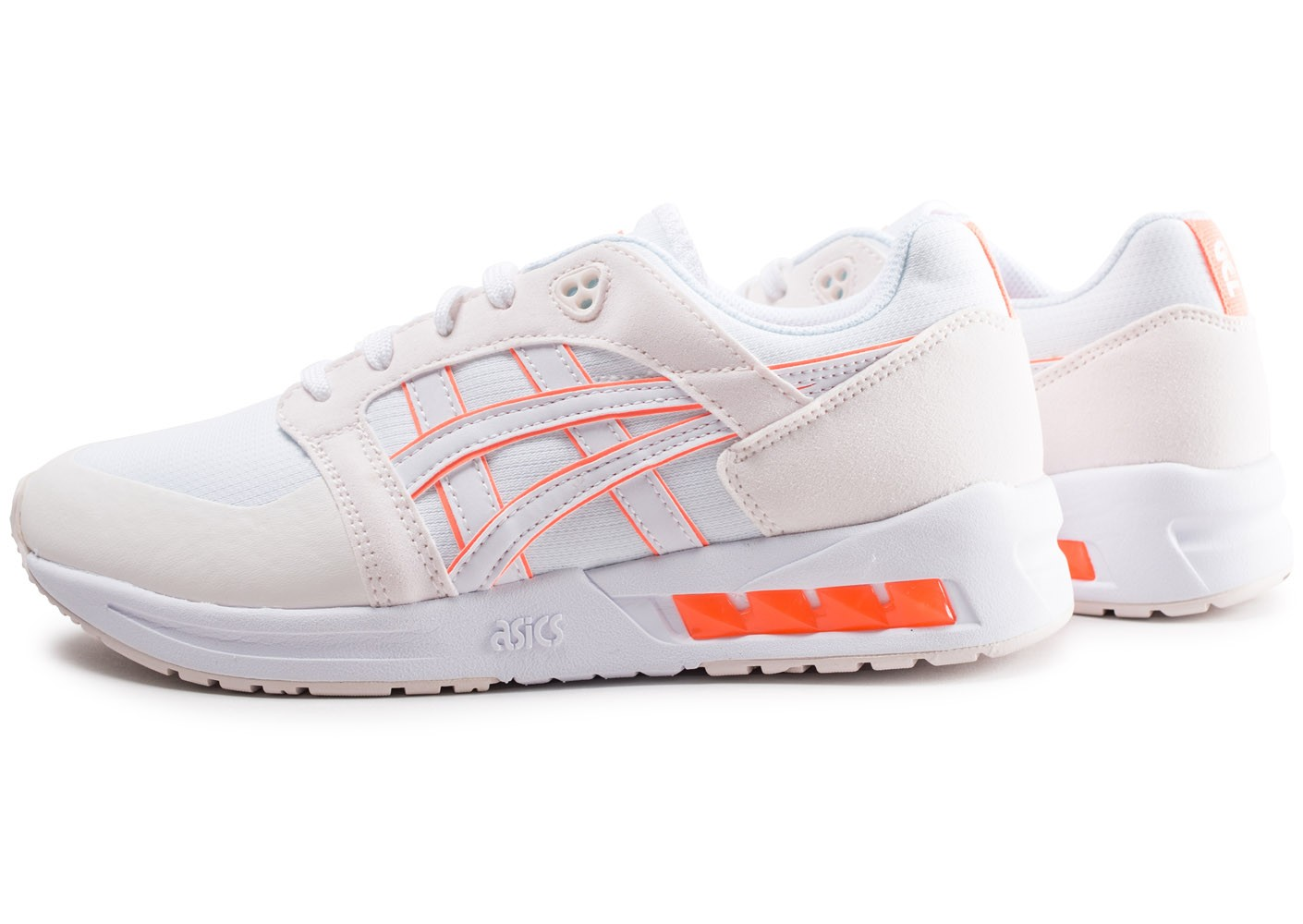asics blanche noir orange