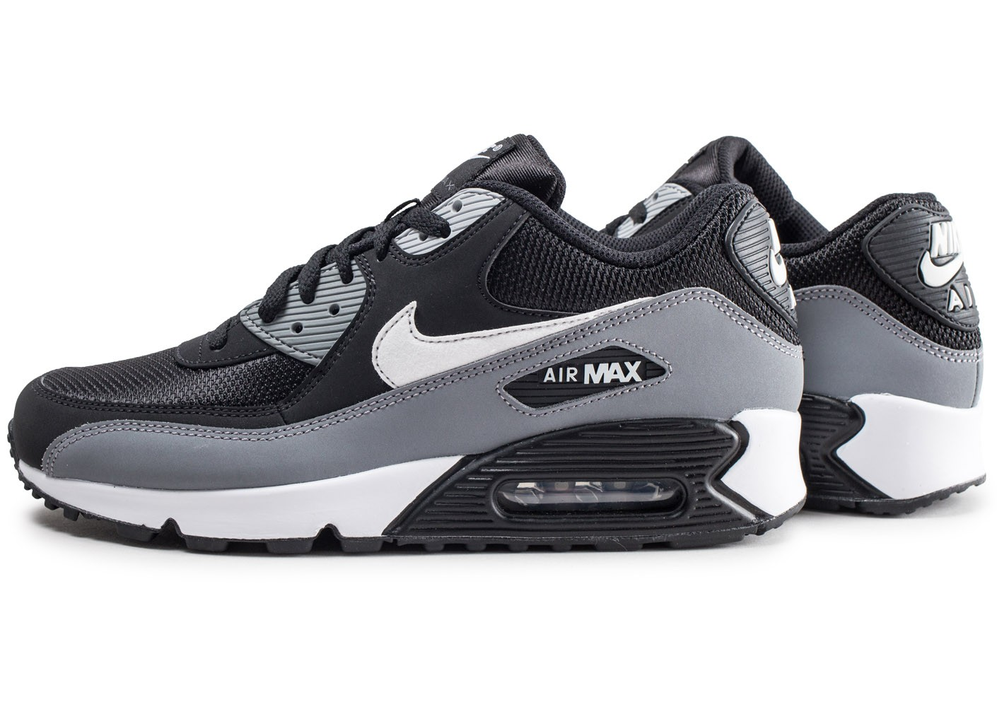 really cheap special section pretty nice Nike Air Max 90 Essential gris noir et blanc - Chaussures Baskets ...