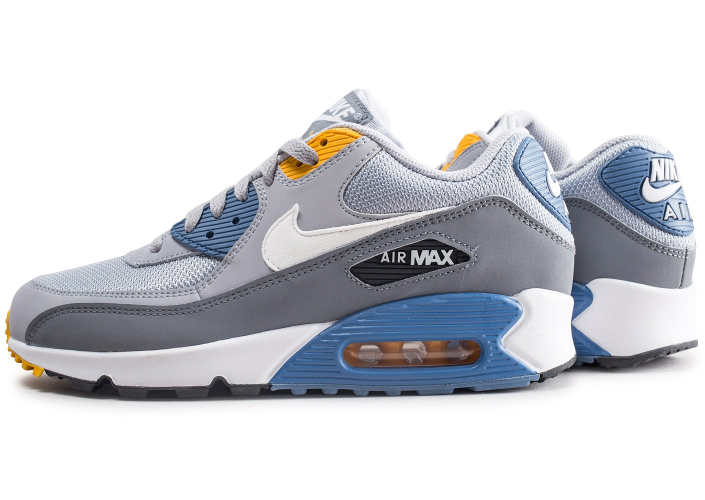 Nike Air Max 90 Essential grise et bleue Chaussures