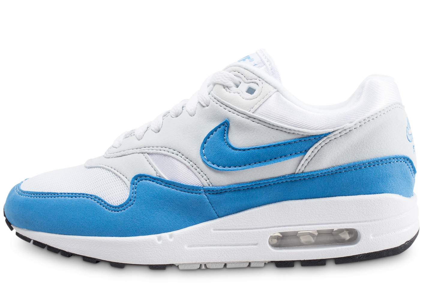 preview of new authentic authentic quality Nike Air Max 1 Essential blanche et bleue femme