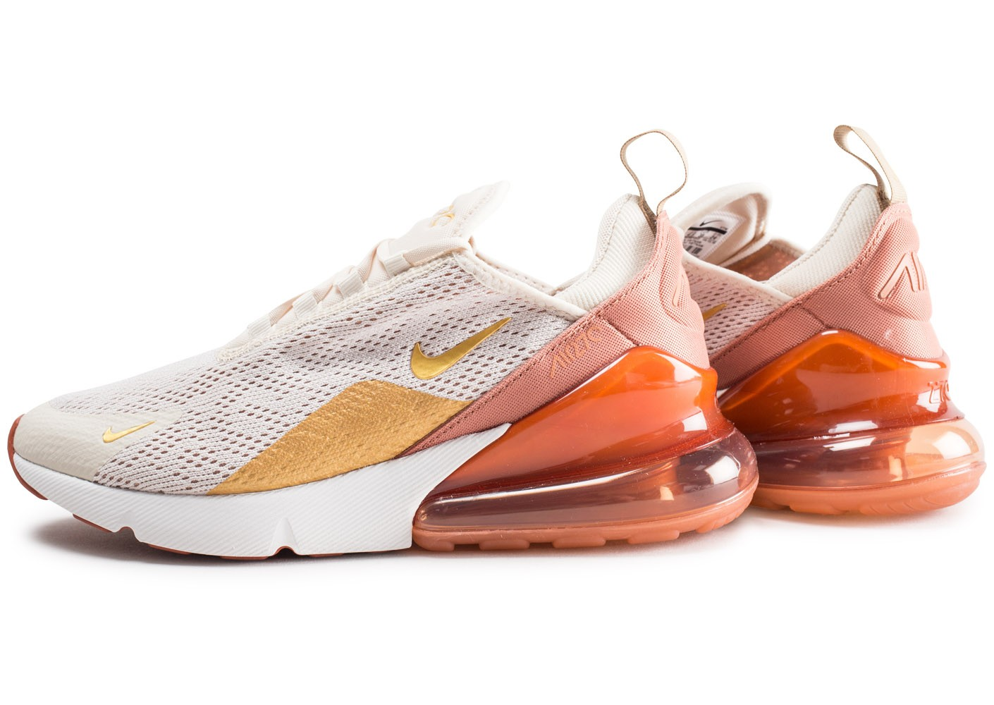 Nike Air Max 270 beige orange or femme - Chaussures Baskets ...
