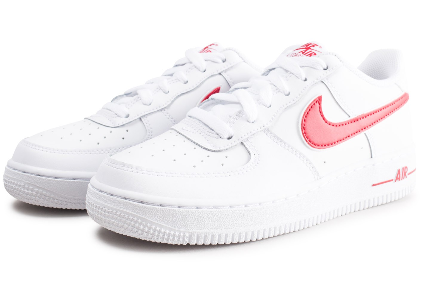Nike Air Force 1 Low blanche et rouge junior Chaussures