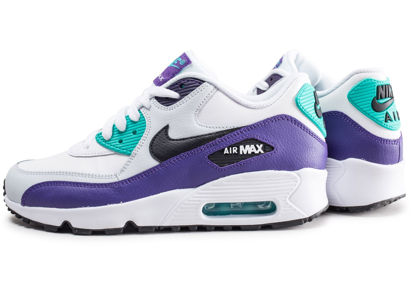 Nike Air Max 90 Leather vert et violet junior Chaussures