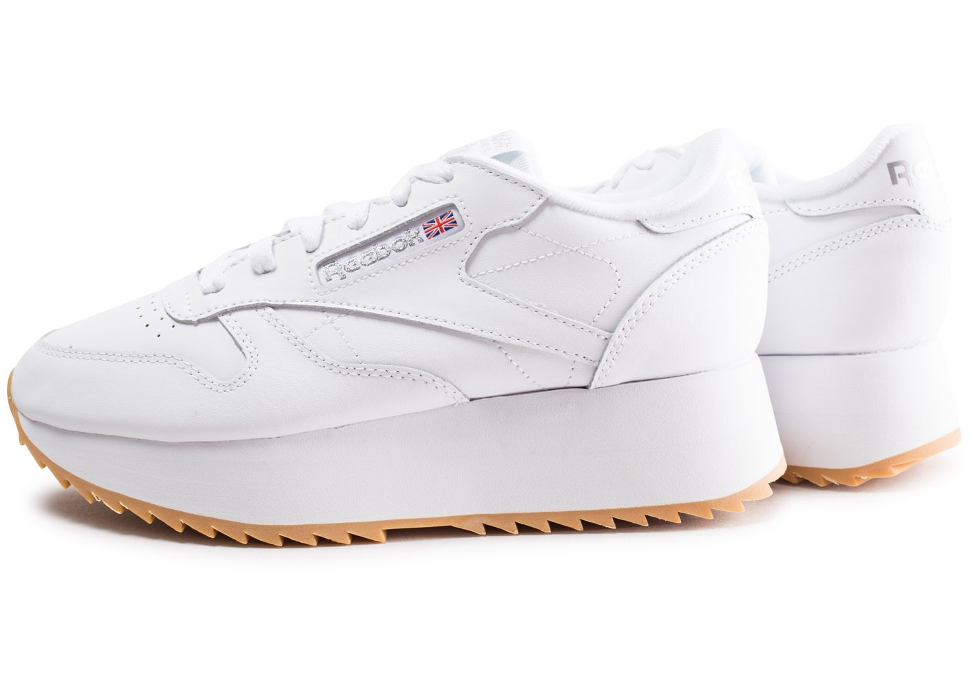 Reebok Leather Blanche Chaussures Double Femme Classic Baskets Tlu13cJFK