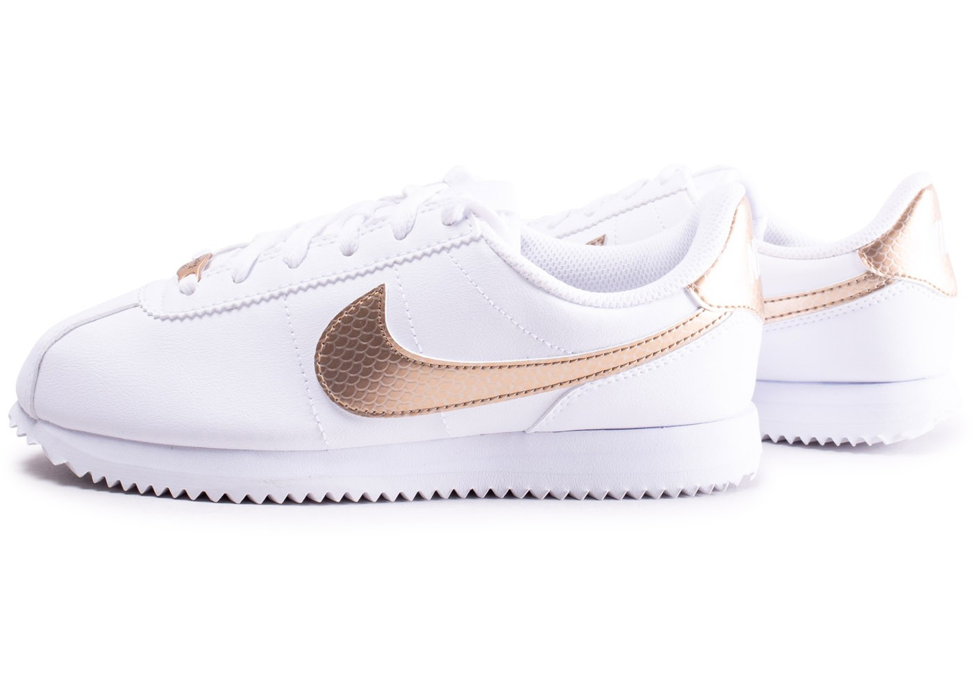 Nike Cortez Basic blanche et or - Chaussures Baskets femme ...