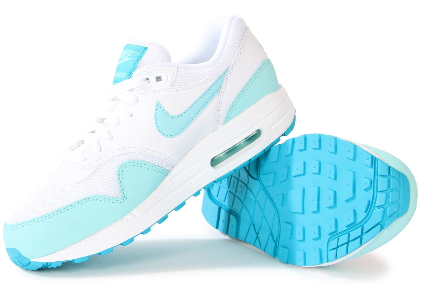 half off a1d50 bd55d ... Chaussures Nike Air Max 1 Essential Blanche Turquoise vue intérieure ...