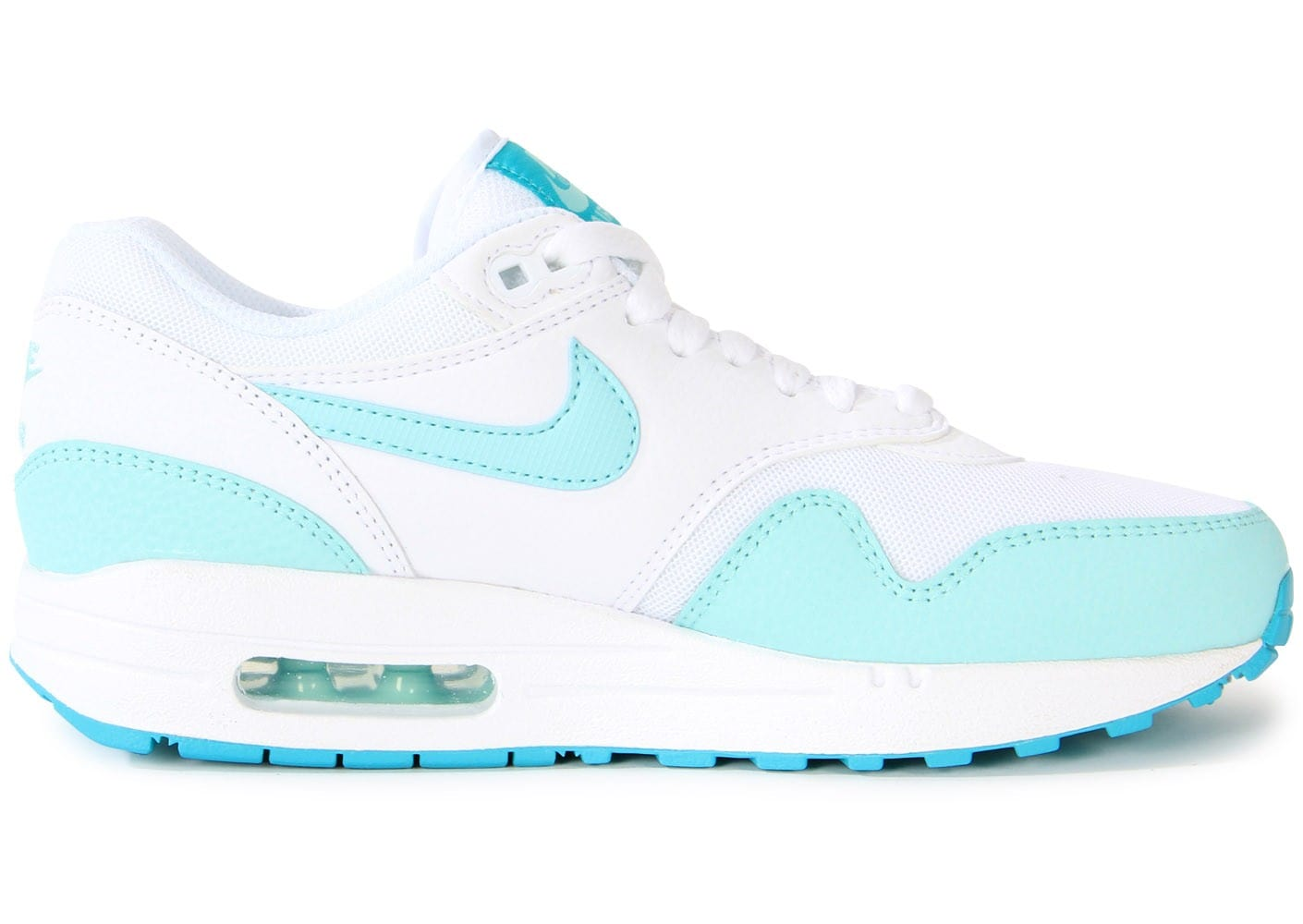 online store 622d4 823f3 ... Chaussures Nike Air Max 1 Essential Blanche Turquoise vue dessous ...
