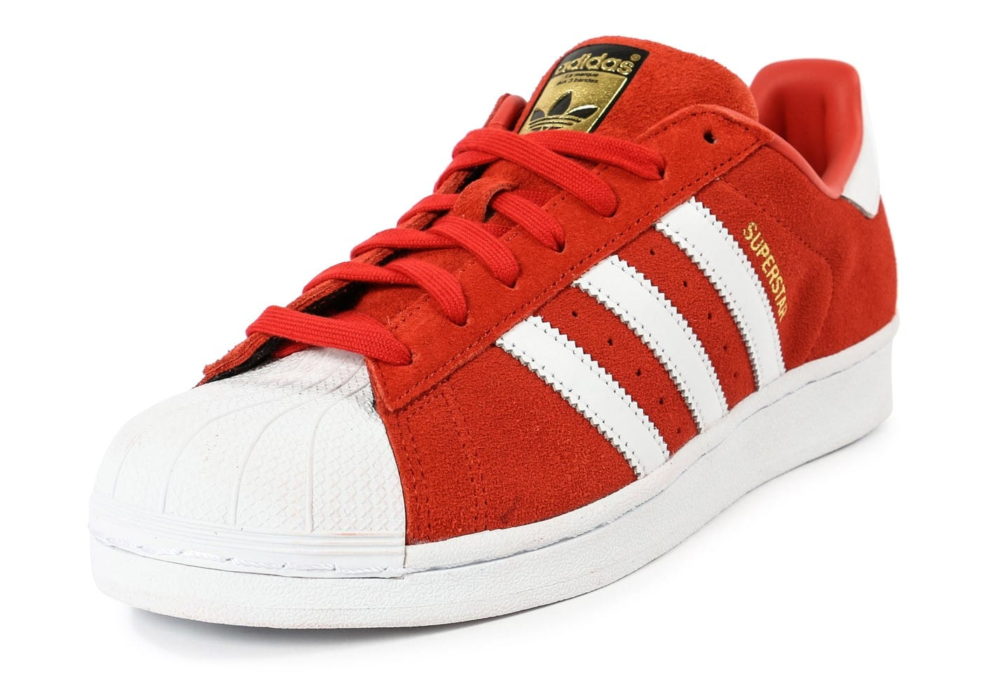 adidas Superstar Suede rouge et blanche - Chaussures Baskets homme ... 5a34398dd18d