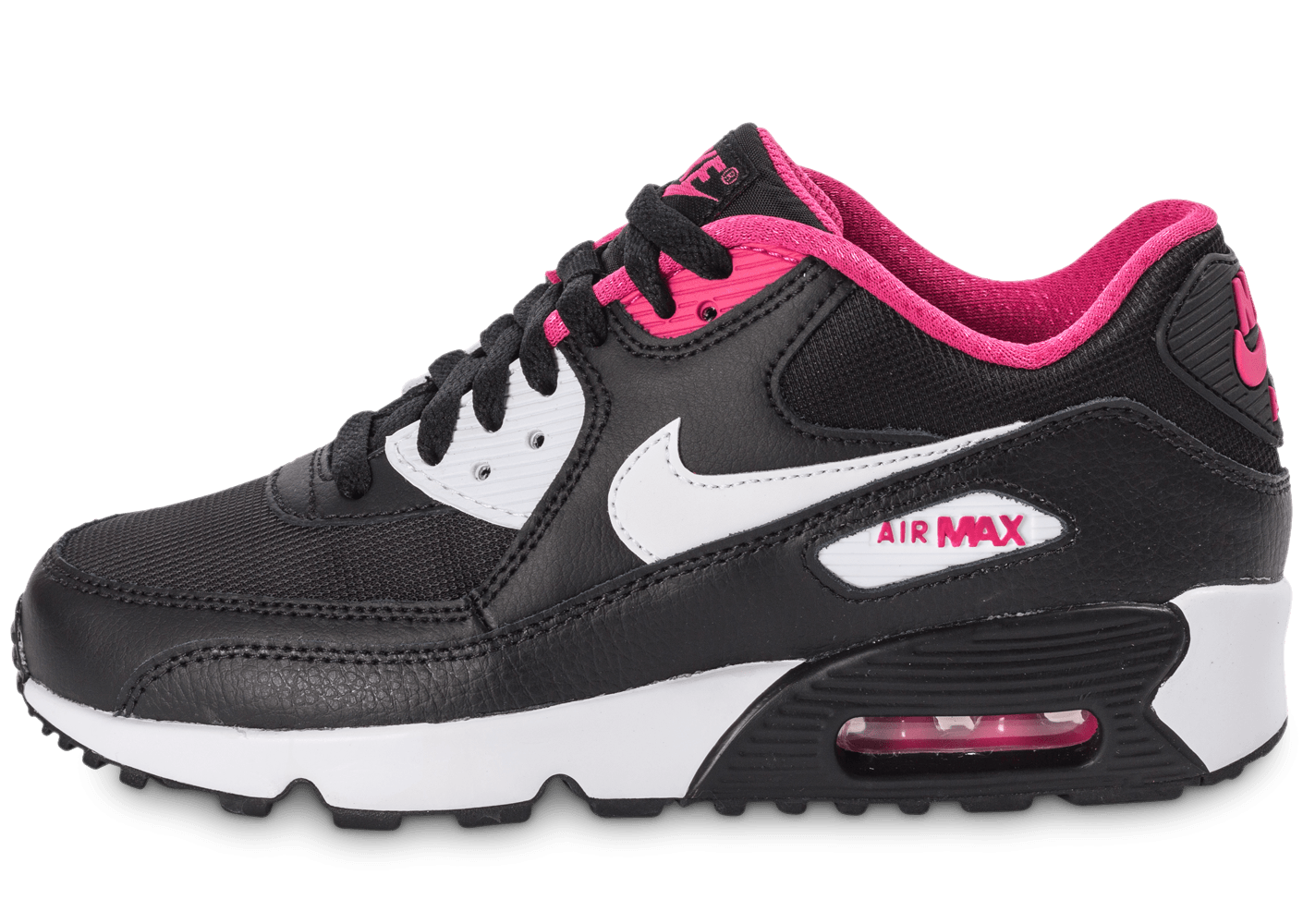 save off 38ae5 d4f70 Nike Air Max 90 Mesh Junior noir et rose - Chaussures Enfant - Chausport