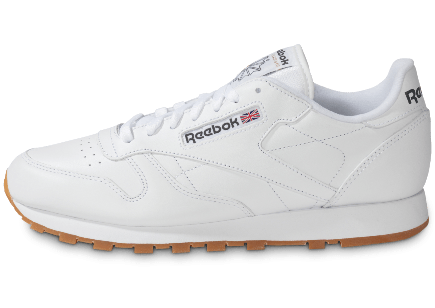 47fa95b364fd0 Reebok Classic Leather Blanche Gum - Chaussures Baskets homme - Chausport
