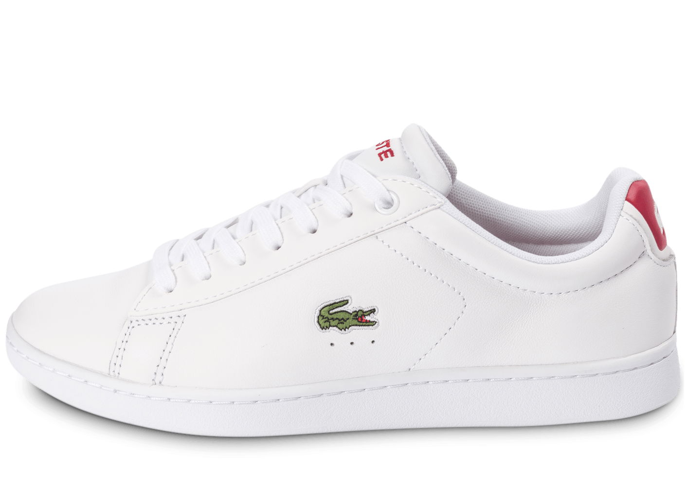 bbfaeb6861 Lacoste Carnaby EL blanche et rouge - Chaussures Baskets homme - Chausport