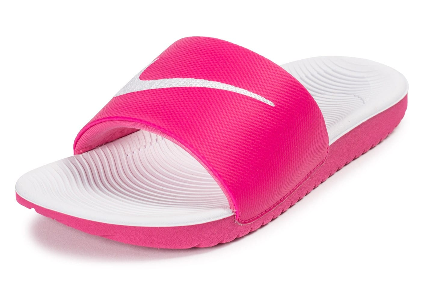 differently 38bbd 8147b ... Chaussures Nike Kawa Slide rose et blanche vue dessus