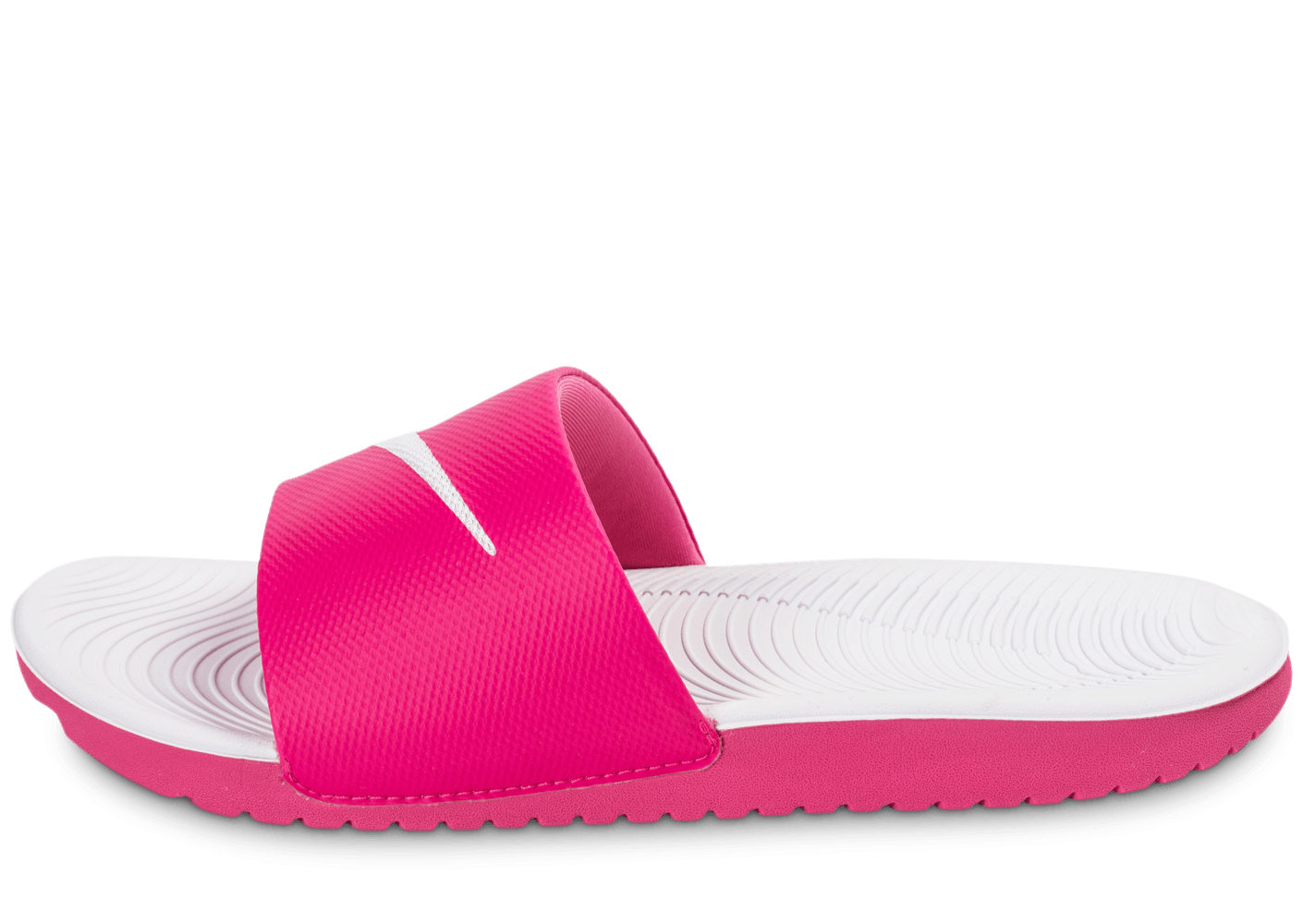 release date: e6982 cb85a ... Chaussures Nike Kawa Slide rose et blanche vue avant ...