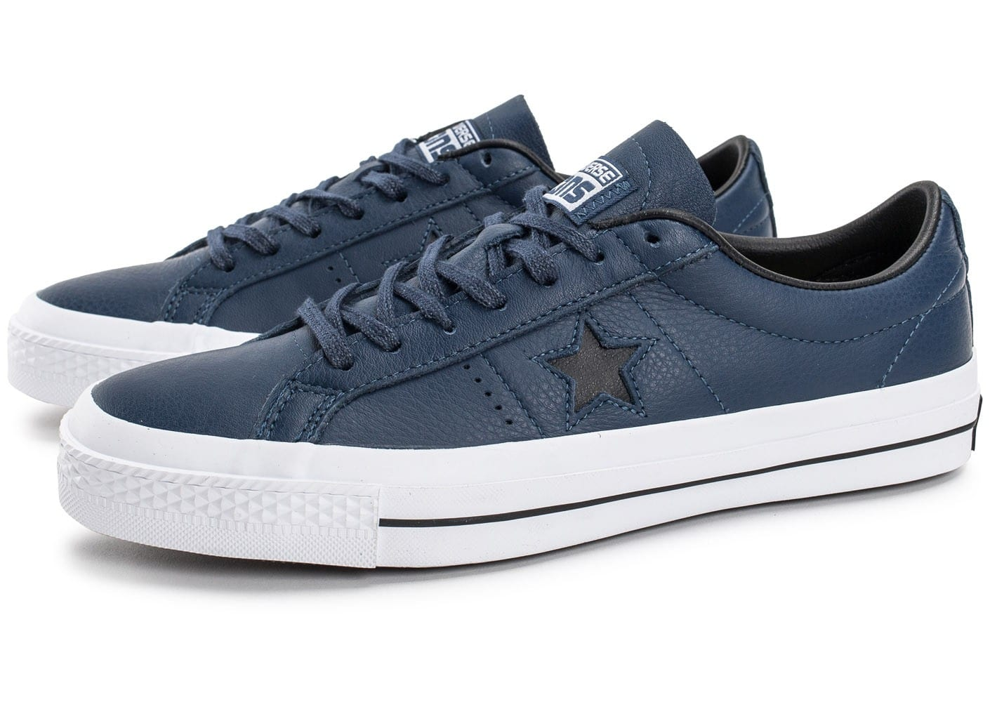 Converse One Star Leather bleu marine - Chaussures Baskets ...
