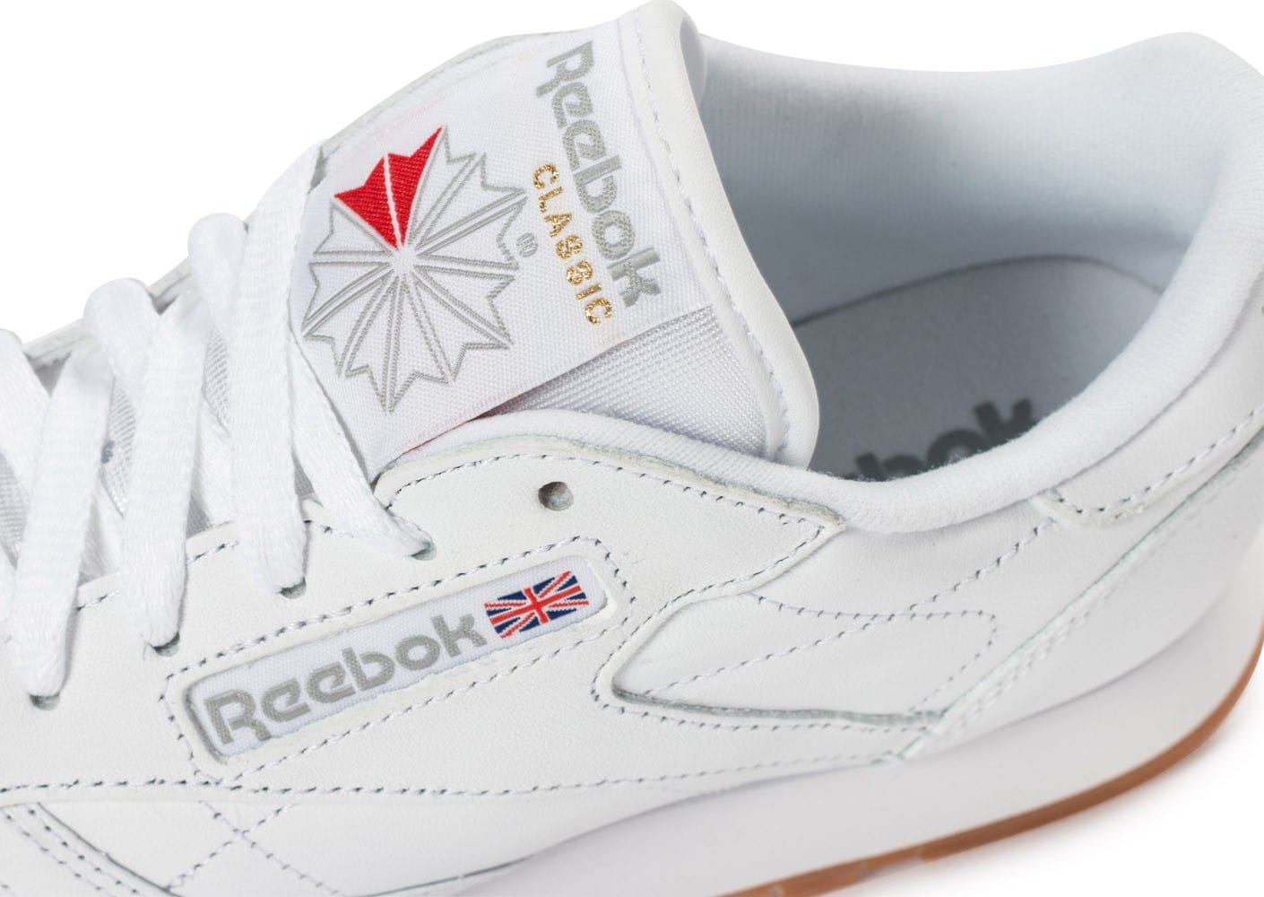 1ff97e7106cc3 Reebok Classic Leather W Gum blanche - Chaussures Baskets femme ...