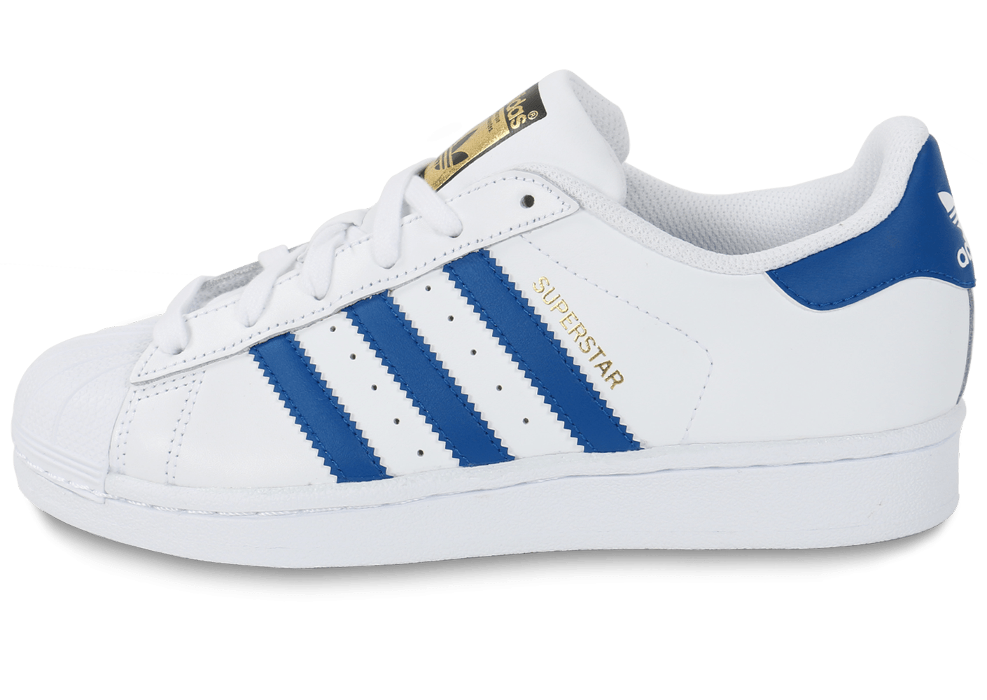 adidas Superstar Foundation Junior blanche et bleue - Chaussures adidas - Chausport