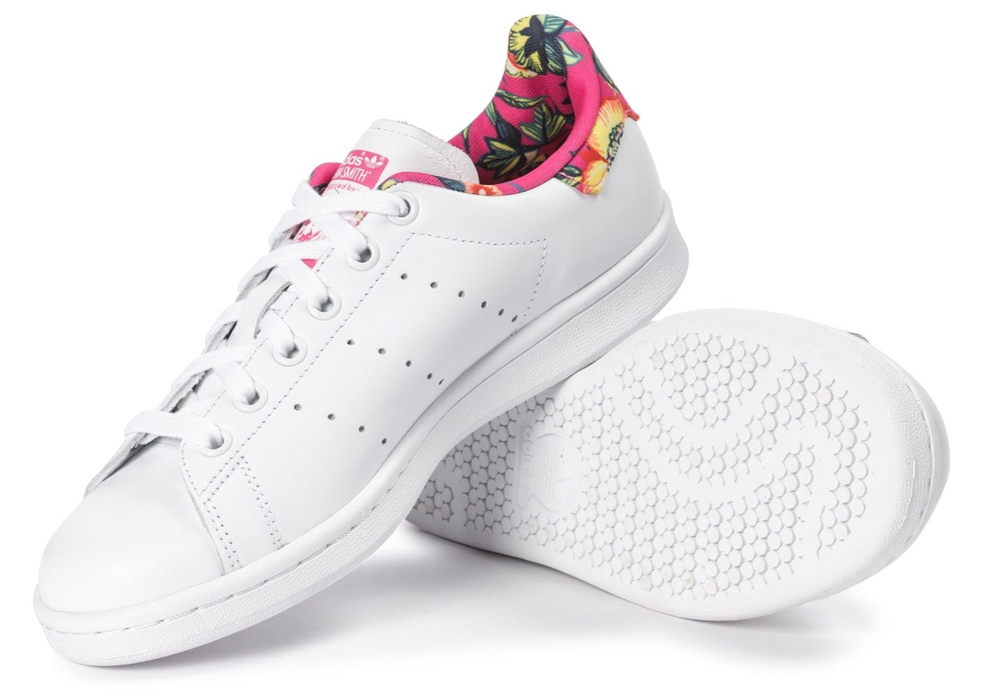 ... Chaussures adidas Stan Smith Floral blanche vue dessous ...