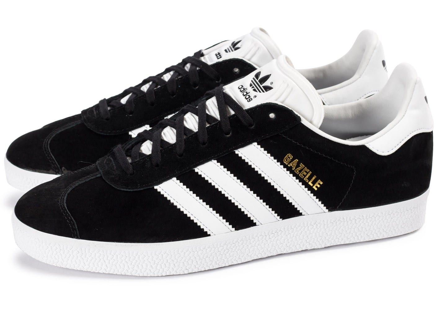 Noir Adidas Originals Gazelle Baskets Avec Bandes En