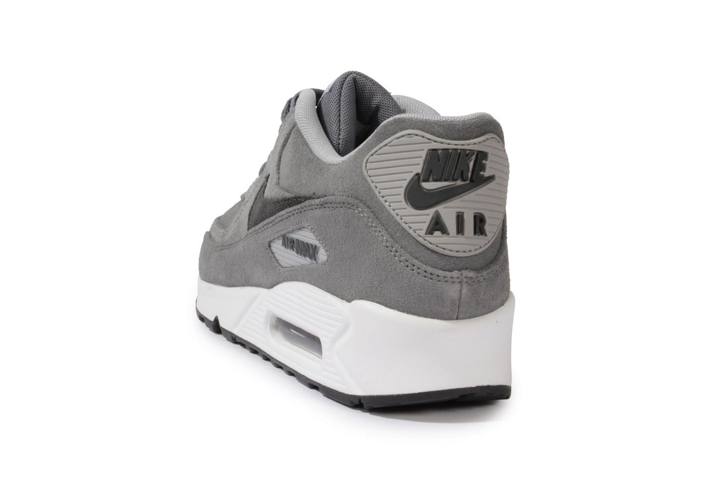 low priced e82eb cfe0c ... Chaussures Nike Air Max 90 Leather Premium Grise vue arrière ...