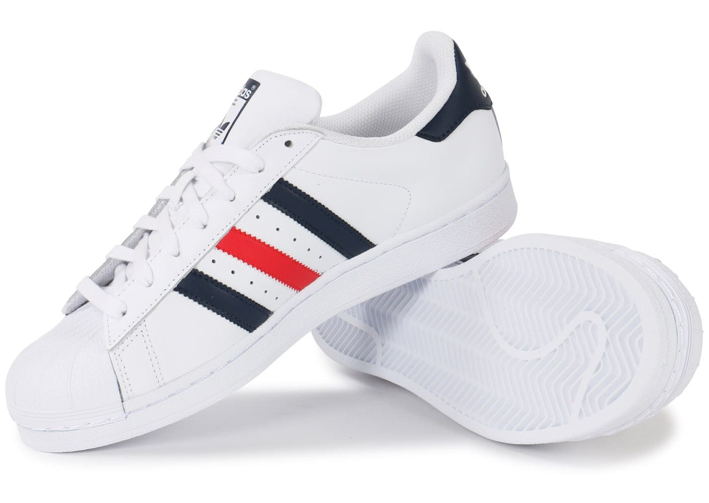 adidas superstar foundation bleu blanc rouge chaussures baskets homme chausport. Black Bedroom Furniture Sets. Home Design Ideas