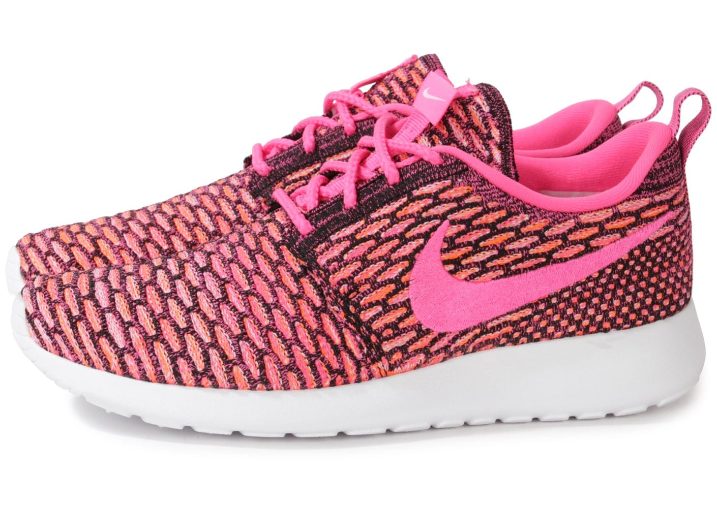 detailed look 68017 296f0 ... store cliquez pour zoomer chaussures nike roshe run flyknit rose vue  extérieure 74fd3 9595c