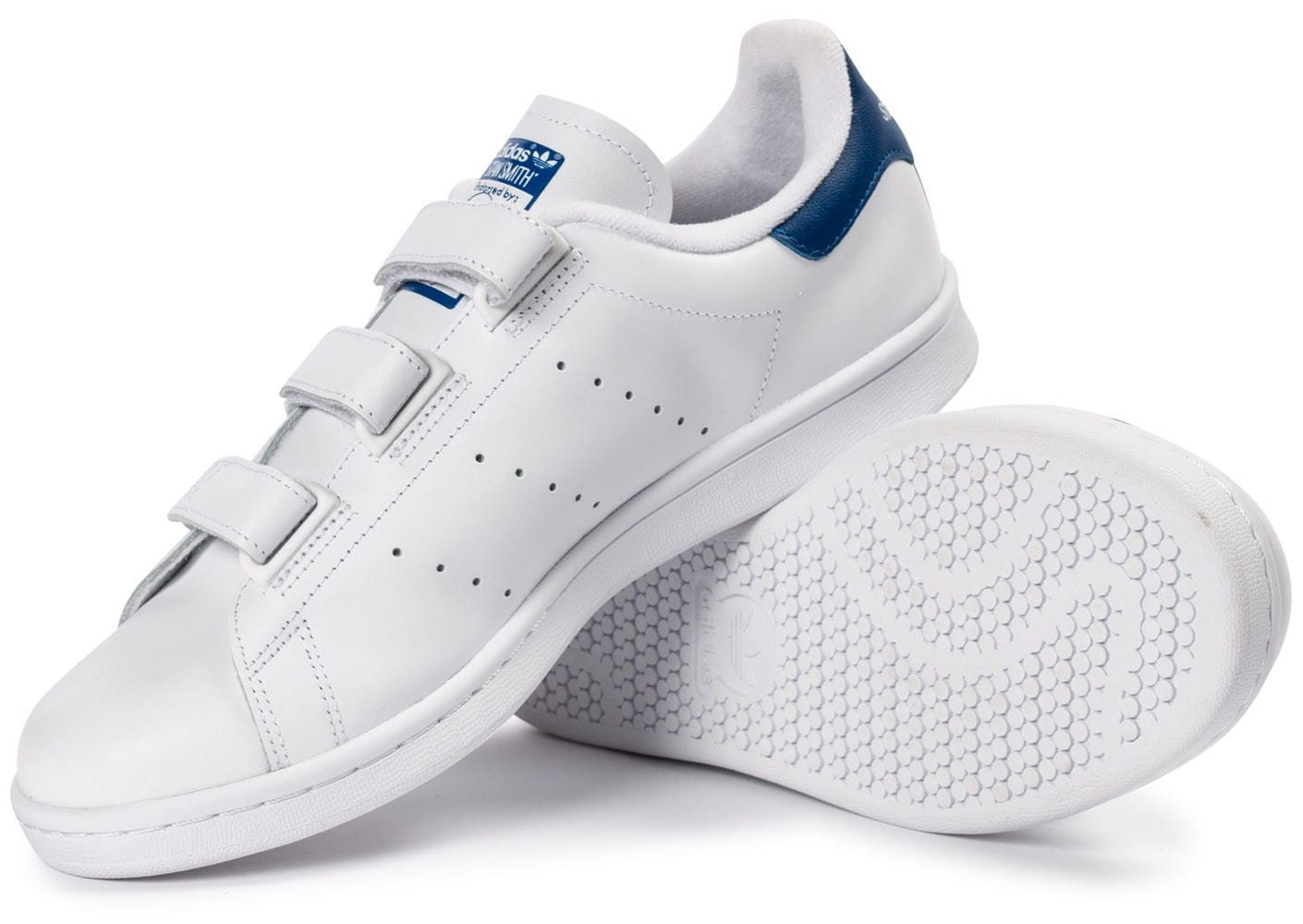 adidas Stan Smith CF Velcro blanc bleu - Chaussures Baskets ...