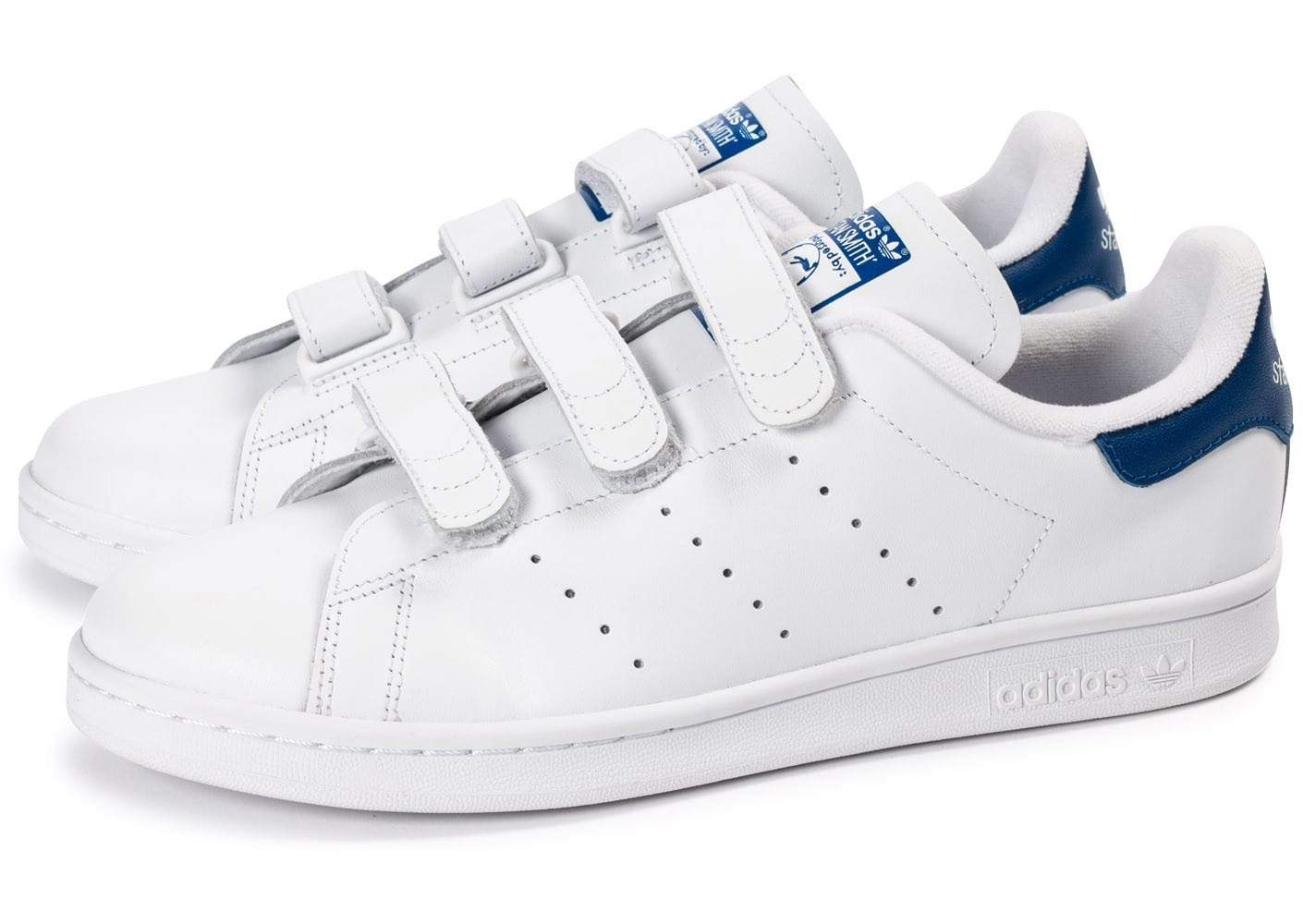 amazing price retail prices first rate adidas Stan Smith CF Velcro blanc bleu - Chaussures Baskets ...