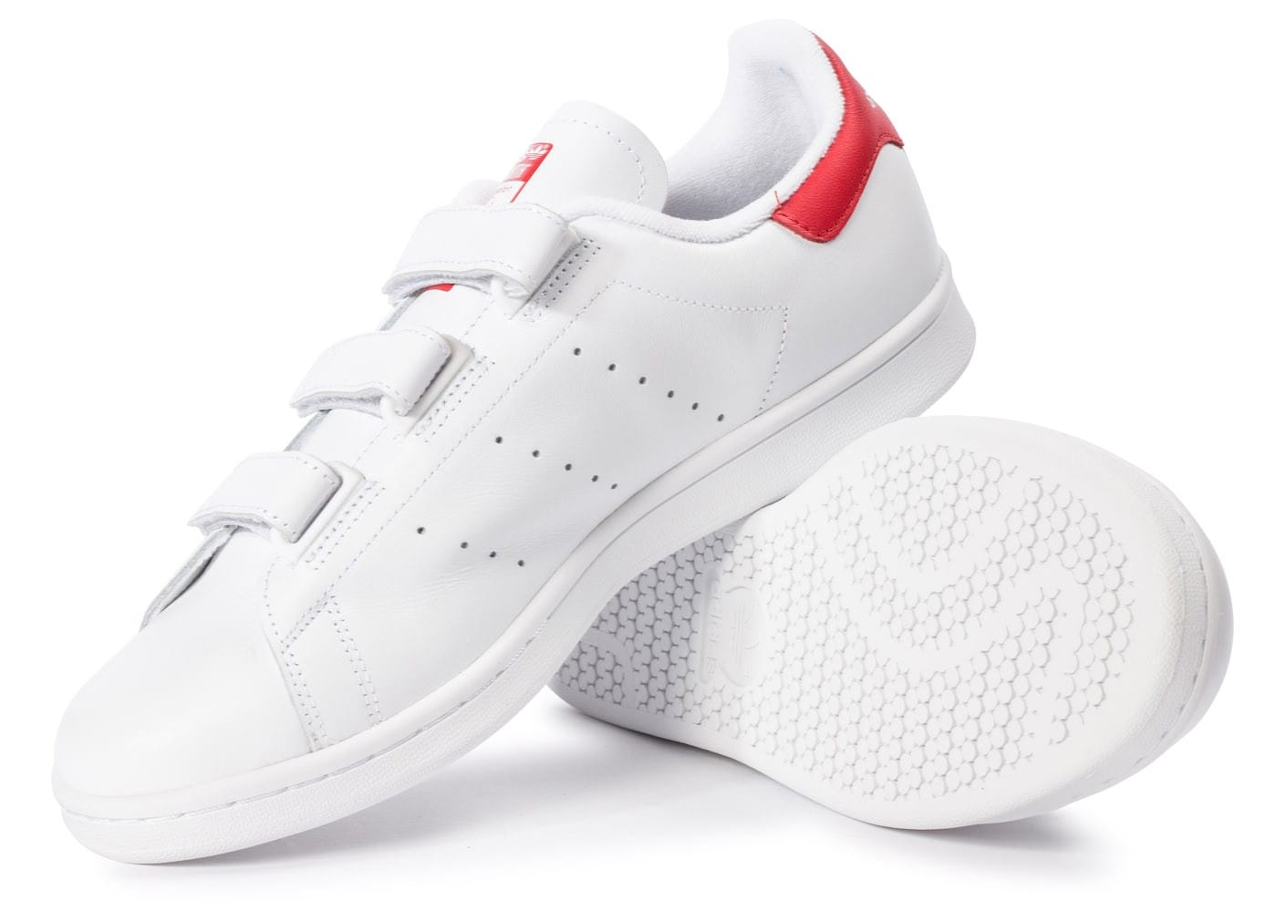 Adidas Stan Smith Cf Velcro Blanc Rouge Chaussures Baskets