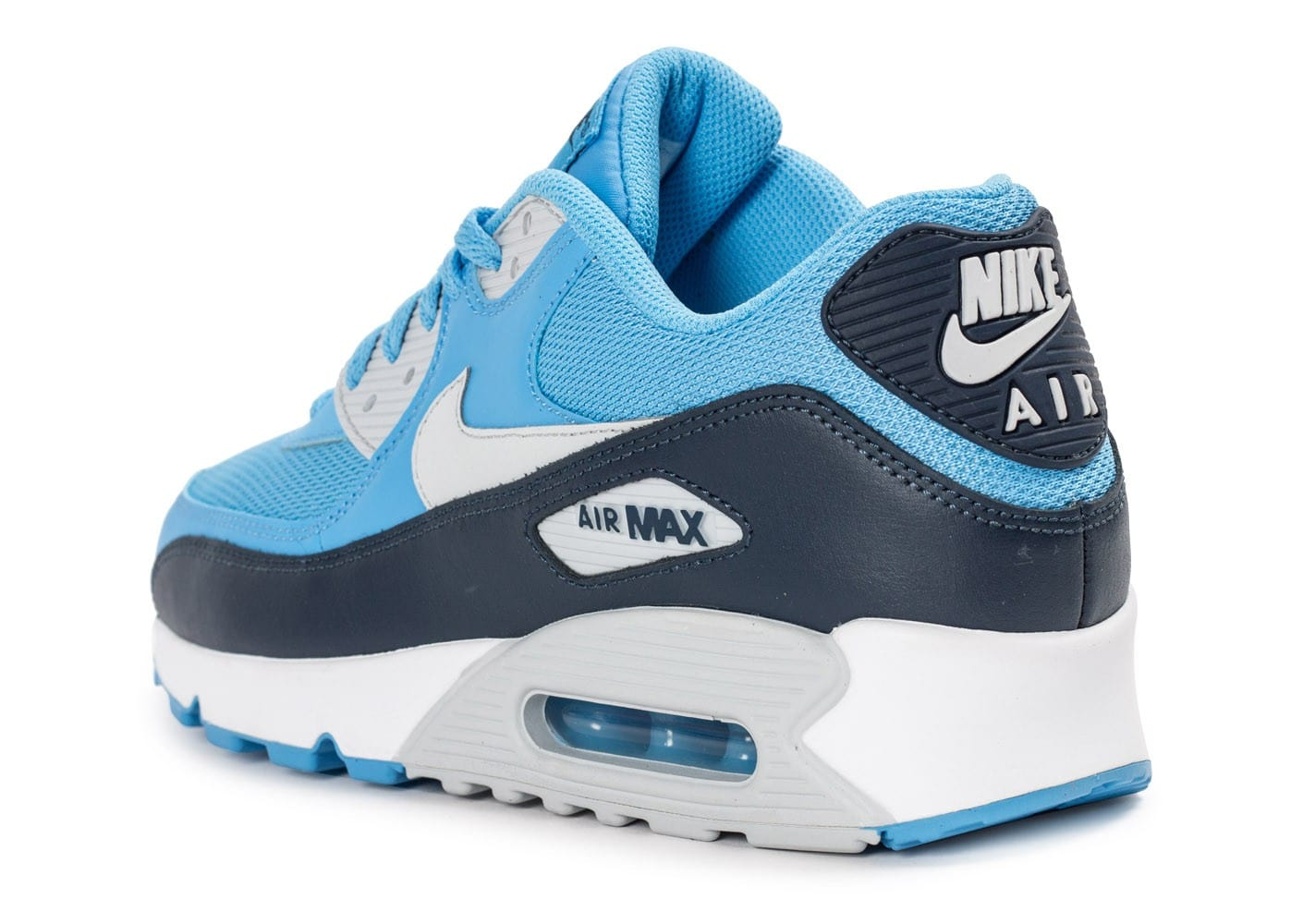 newest 2ecaa b2094 ... where to buy chaussures nike air max 90 essential bleue vue arrière  ff6bb 1e785