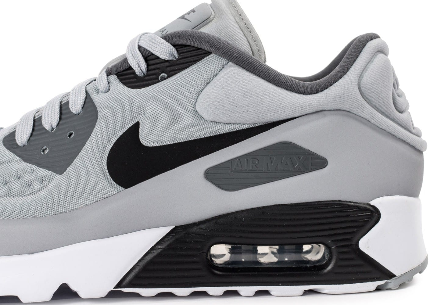 huge selection of e3773 af1ca ... Chaussures Nike Air Max 90 Ultra Essential grise et noire vue dessus