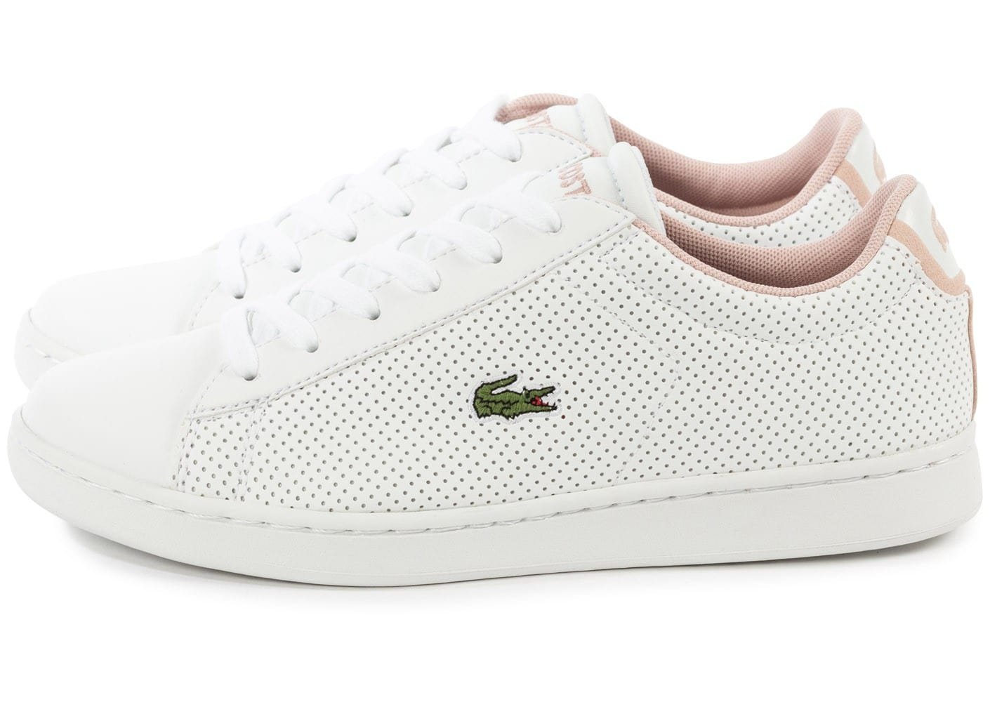 genuine shoes new lifestyle shop Lacoste Carnaby Evo Junior blanche et rose - Chaussures ...