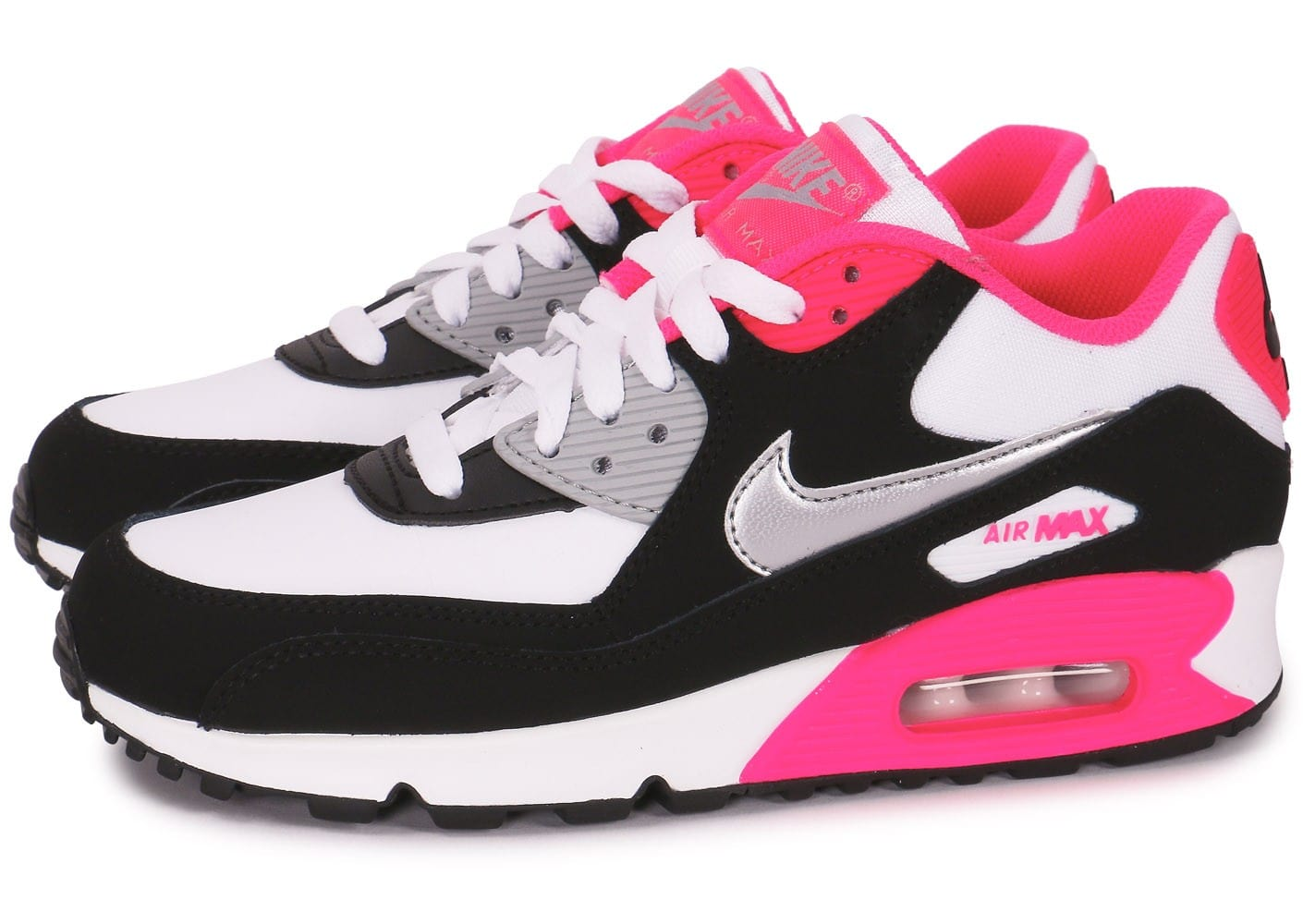 design intemporel 9d509 ddc11 Nike Air Max 90 junior blanc noir rose - Chaussures ...