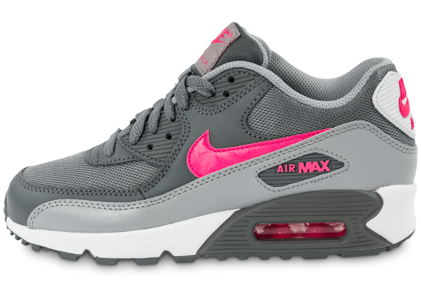 Air Et Max 90 Nike Junior Grise Rose Mesh yv76gYbf