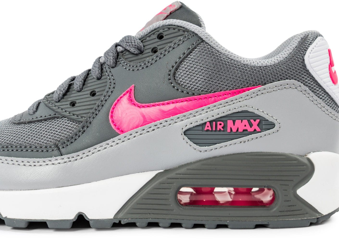 sports shoes faceb de1b5 Chaussures Nike Air Max 90 Mesh Junior grise et rose vue dessus