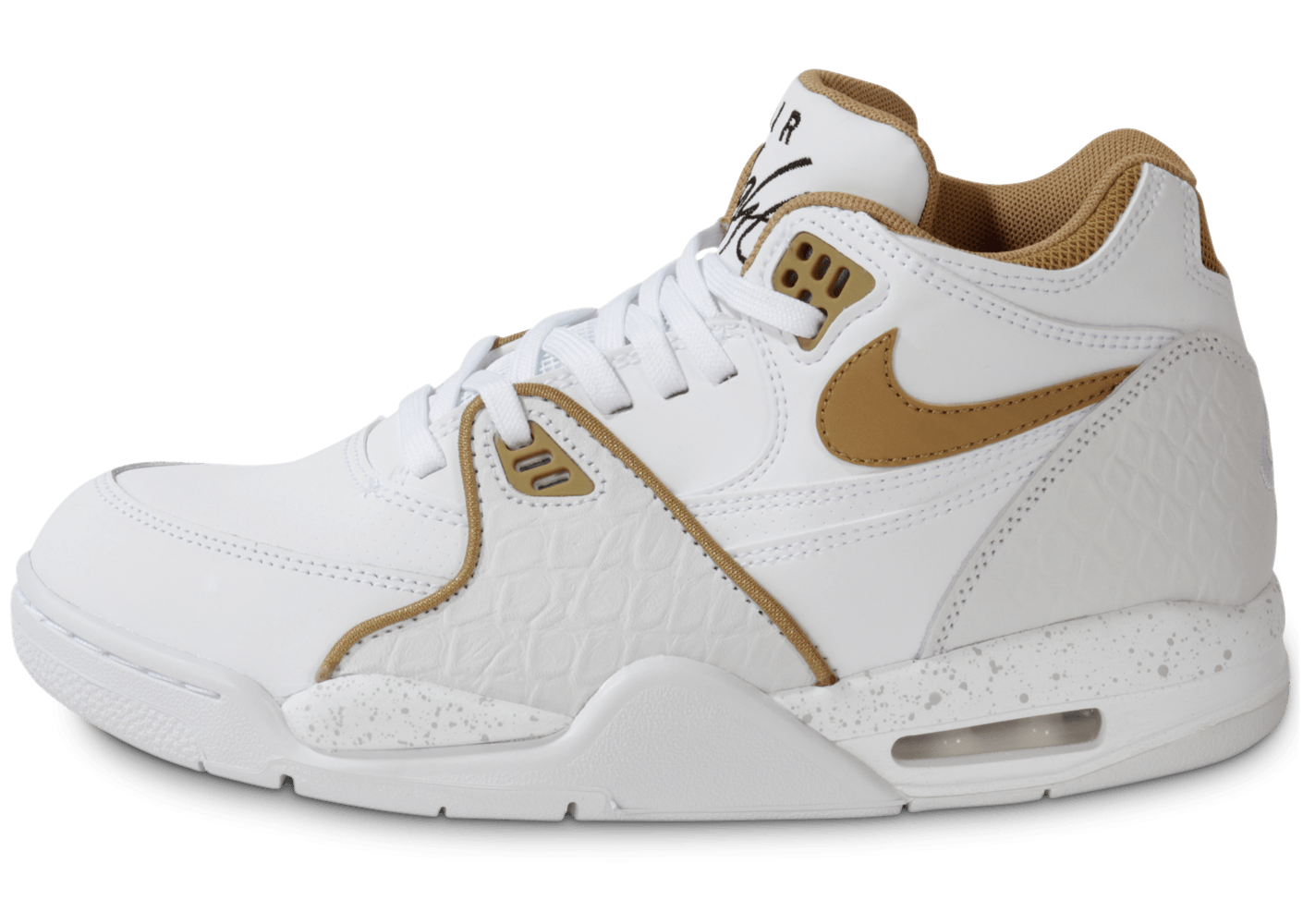 sports shoes 18e75 1b7a0 Nike Air Flight 89 Blanche Et Or - Chaussures Baskets homme