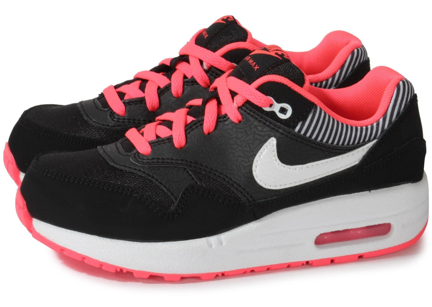 Nike Air Max 1 Enfant Noire Rose Chaussures Chaussures