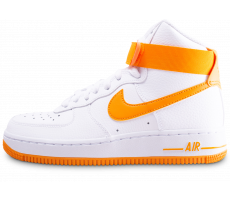 Chaussures Nike Air Force 1 High blanc et orange femme
