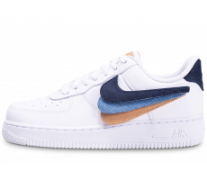 Chaussures Nike Air Force 1 LV8 Blanche beige et bleu Multi Swoosh