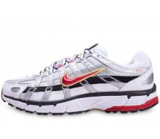 Chaussures Nike P-6000 blanc gris rouge femme