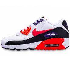 Chaussures Nike Air Max 90 Leather blanc rouge noir junior