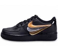 Chaussures Nike Air Force 1 LV8 noir et or junior Multi Swoosh Junior