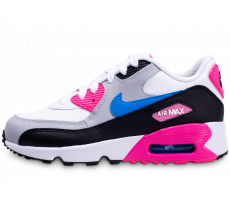 Chaussures Nike Air Max 90 Leather blanc rose bleu enfant
