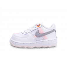 Chaussures Nike Air Force 1 Low blanc gris rose bébé