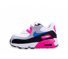 Chaussures Nike Air Max 90 Leather blanc rose bleu bébé