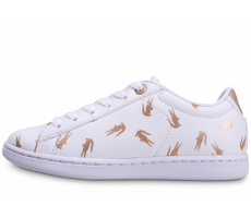 Chaussures Lacoste Carnaby Evo blanche et or enfant