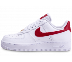 Chaussures Nike Air Force 1'07 blanche rouge et or femme